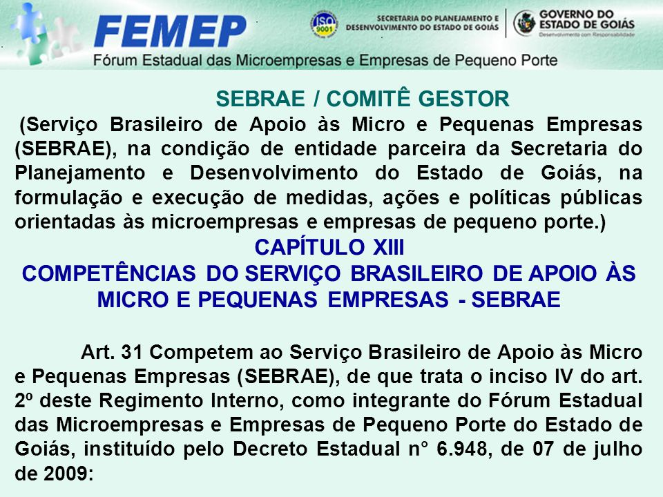 SEBRAE / COMITÊ GESTOR