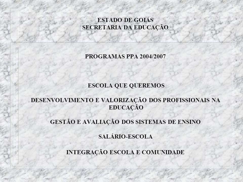 ESTADO DE GOIÁS SECRETARIA DA EDUCAÇÃO PROGRAMAS PPA 2004/2007 ESCOLA QUE QUEREMOS DESENVOLVIMENTO E VALORIZAÇÃO DOS PROFISSIONAIS NA EDUCAÇÃO GESTÃO E AVALIAÇÃO DOS SISTEMAS DE ENSINO SALÁRIO-ESCOLA INTEGRAÇÃO ESCOLA E COMUNIDADE