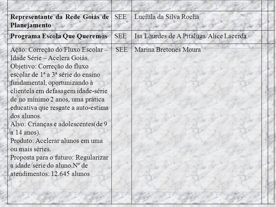 Representante da Rede Goiás de Planejamento