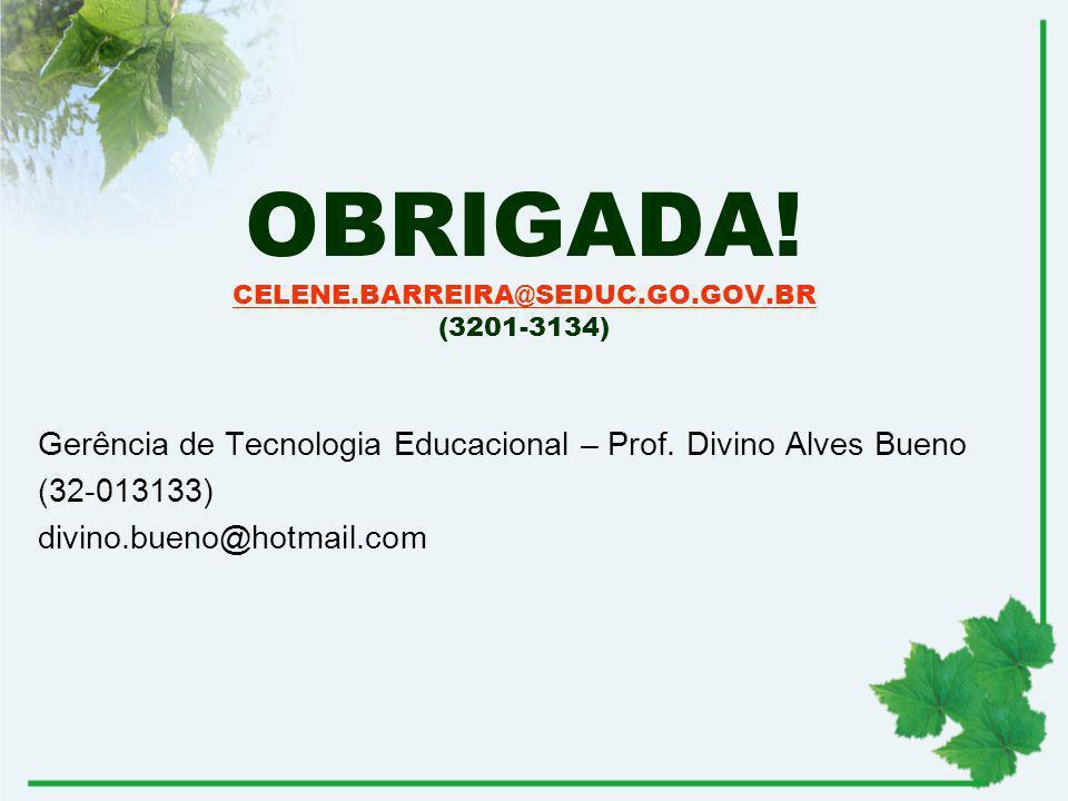 OBRIGADA! CELENE.BARREIRA@SEDUC.GO.GOV.BR (3201-3134)