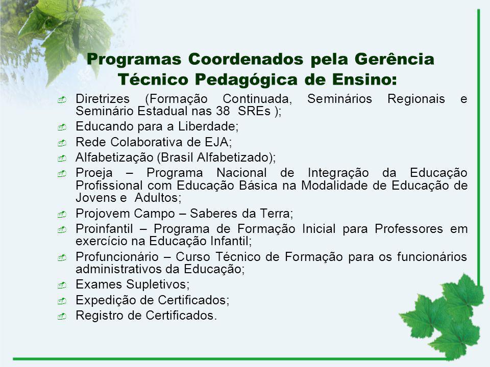Programas Coordenados pela Gerência Técnico Pedagógica de Ensino: