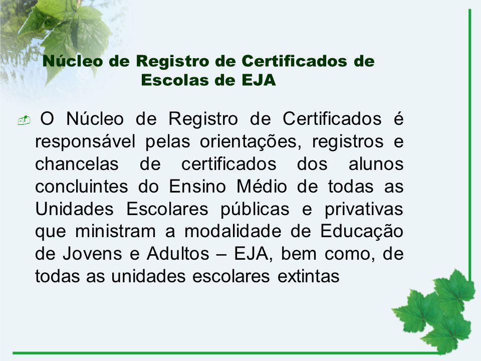 Núcleo de Registro de Certificados de Escolas de EJA