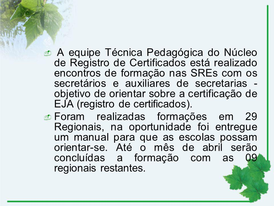 A equipe Técnica Pedagógica do Núcleo de Registro de Certificados está realizado encontros de formação nas SREs com os secretários e auxiliares de secretarias - objetivo de orientar sobre a certificação de EJA (registro de certificados).