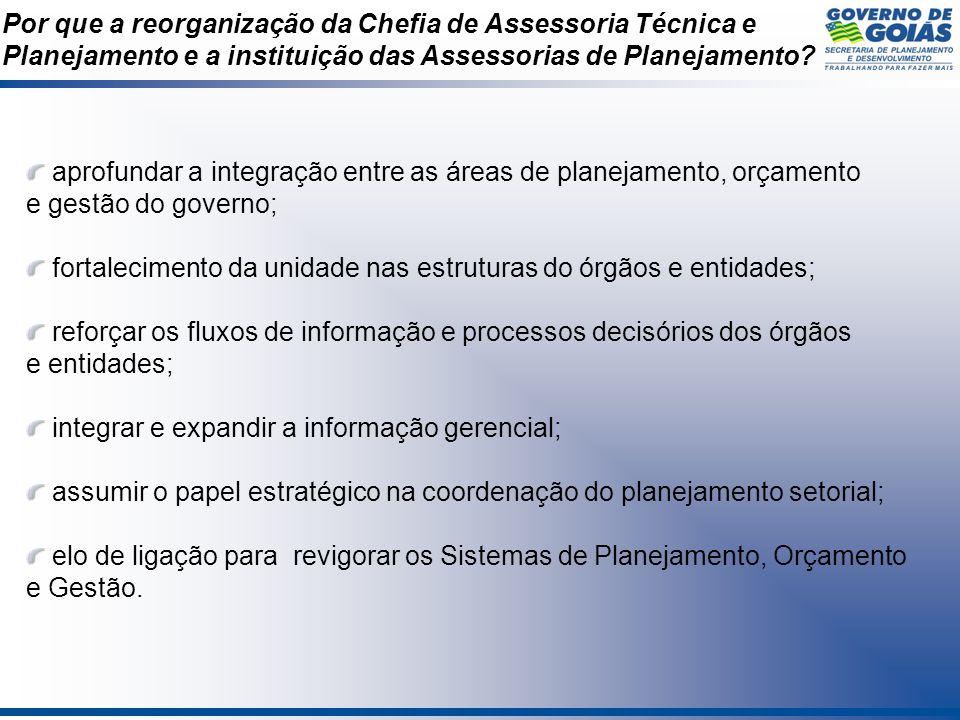 Por que a reorganização da Chefia de Assessoria Técnica e Planejamento e a instituição das Assessorias de Planejamento