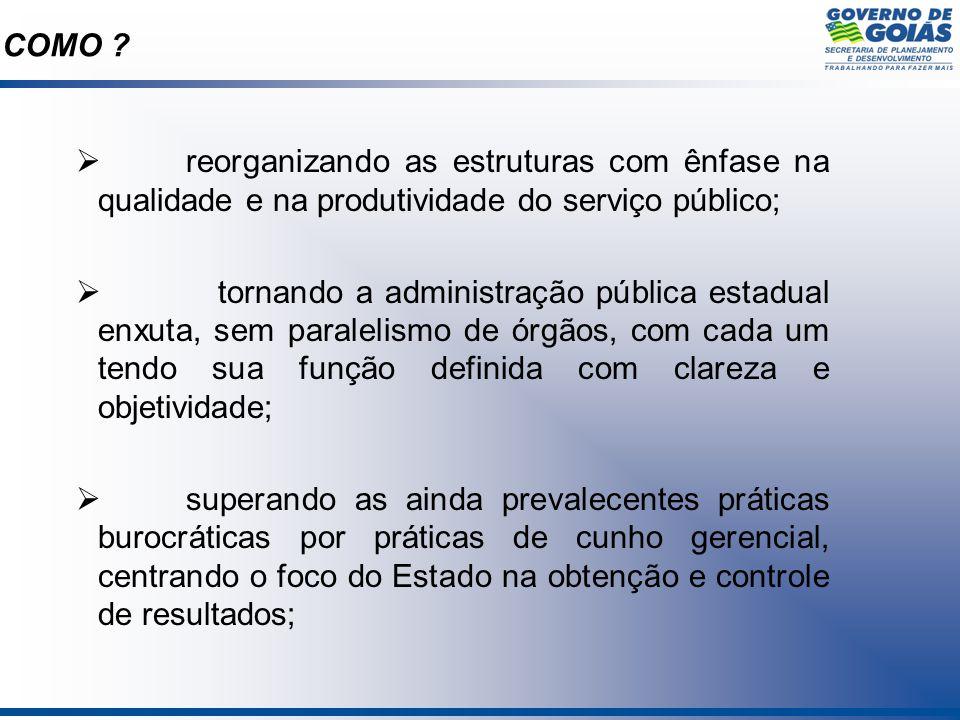 COMO reorganizando as estruturas com ênfase na qualidade e na produtividade do serviço público;