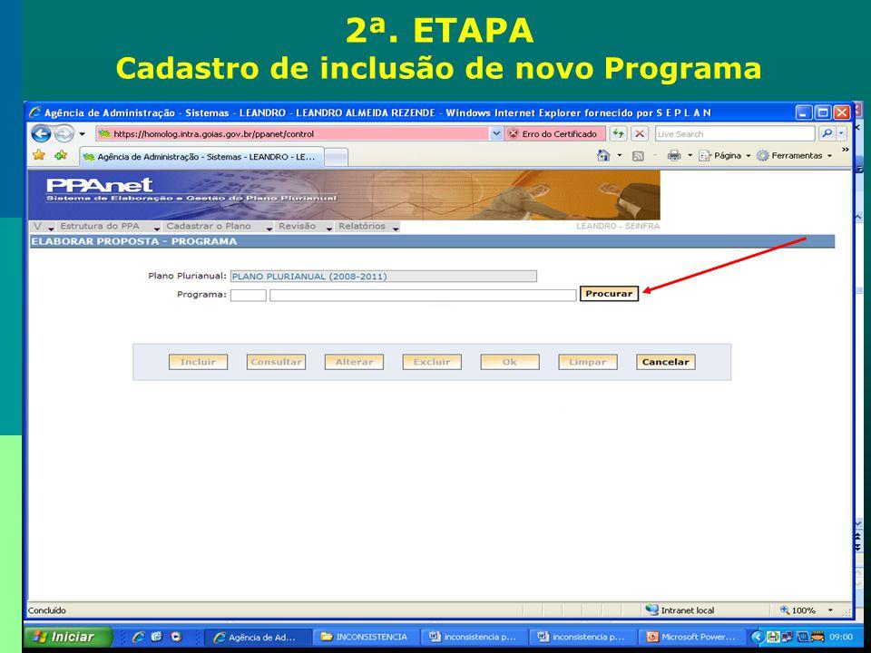 Cadastro de inclusão de novo Programa