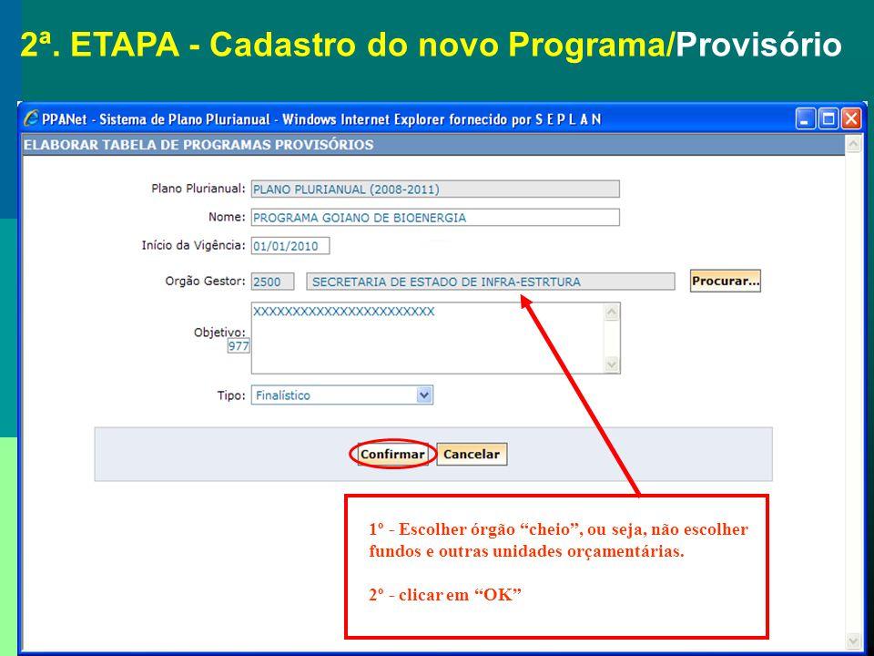 2ª. ETAPA - Cadastro do novo Programa/Provisório