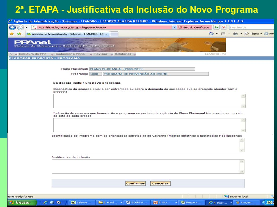 2ª. ETAPA - Justificativa da Inclusão do Novo Programa