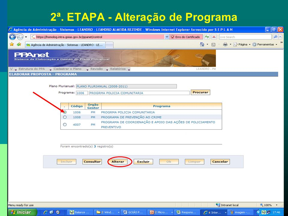 2ª. ETAPA - Alteração de Programa