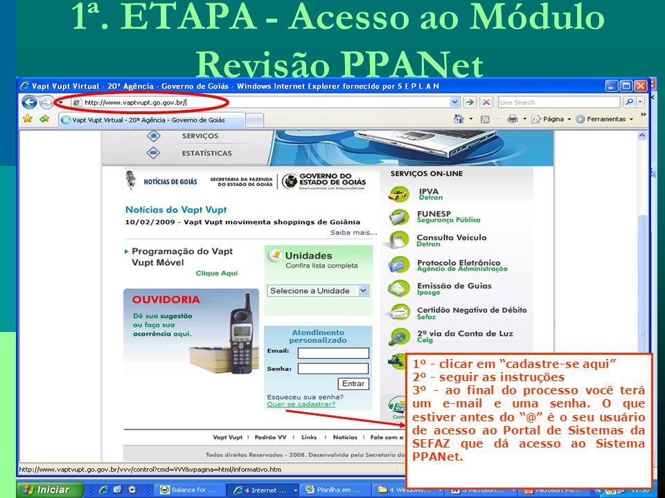 1ª. ETAPA - Acesso ao Módulo Revisão PPANet