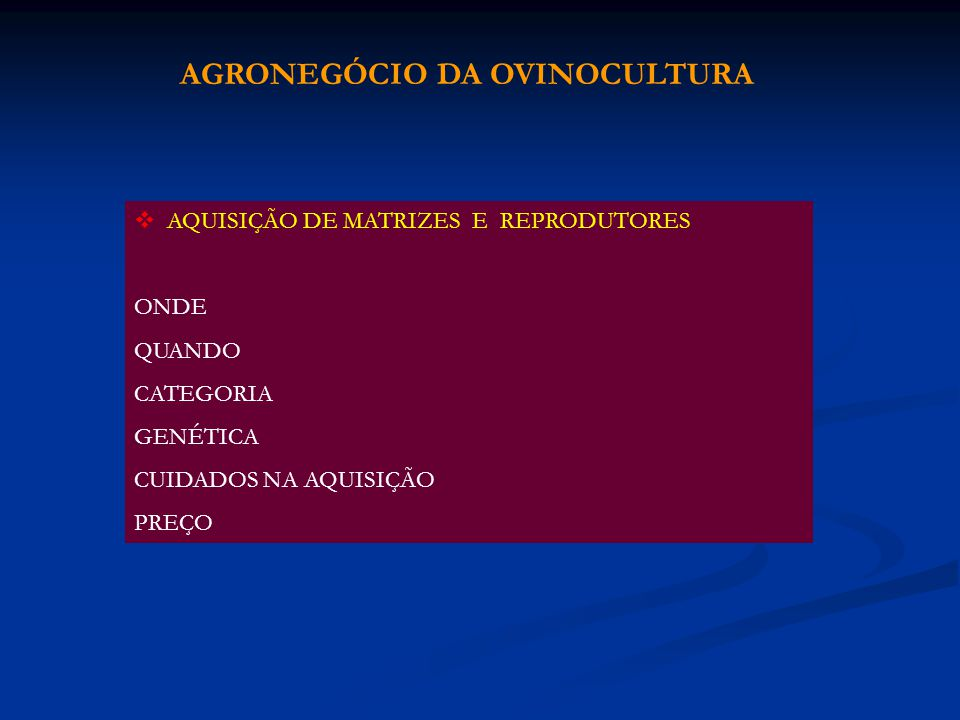 AGRONEGÓCIO DA OVINOCULTURA