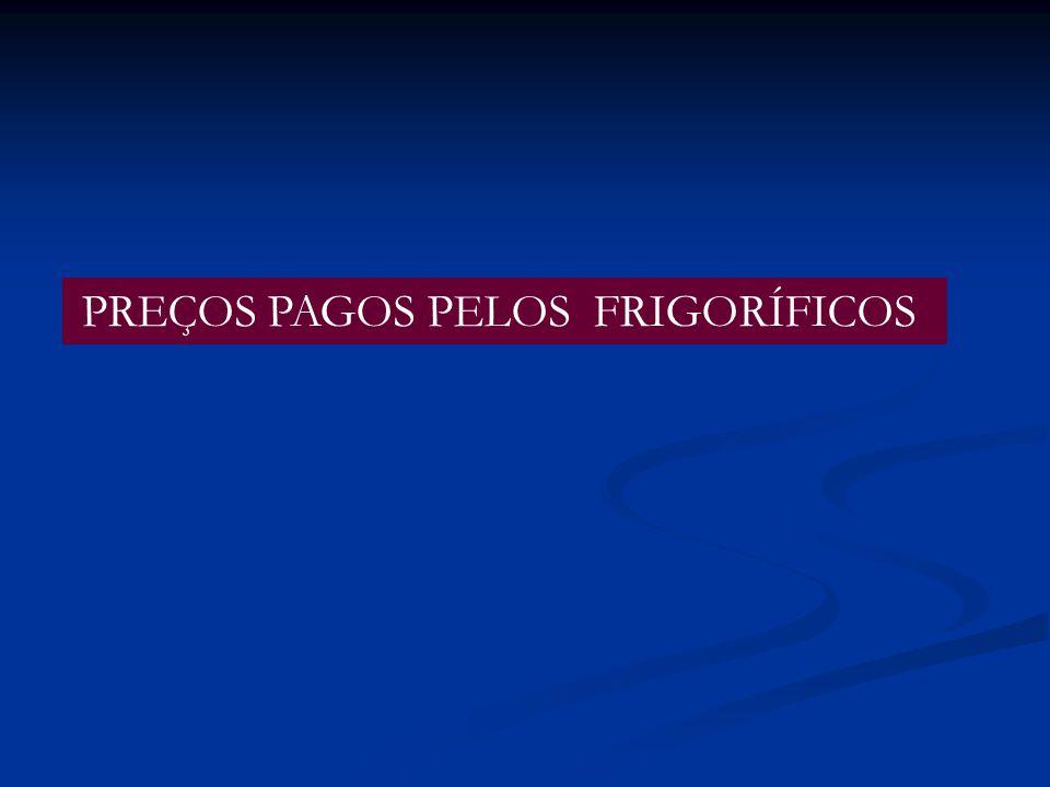PREÇOS PAGOS PELOS FRIGORÍFICOS