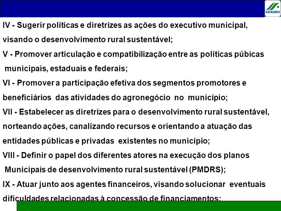 IV - Sugerir políticas e diretrizes as ações do executivo municipal,
