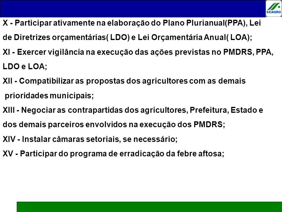 X - Participar ativamente na elaboração do Plano Plurianual(PPA), Lei