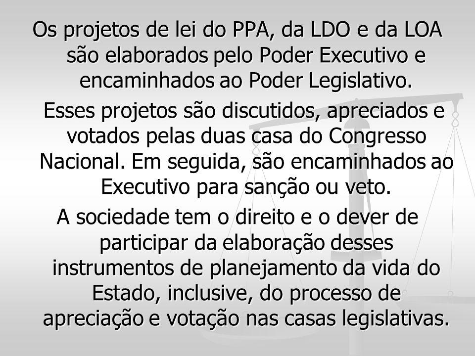 Os projetos de lei do PPA, da LDO e da LOA são elaborados pelo Poder Executivo e encaminhados ao Poder Legislativo.