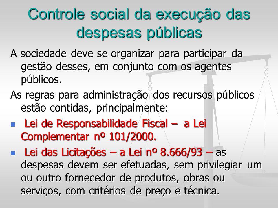 Controle social da execução das despesas públicas
