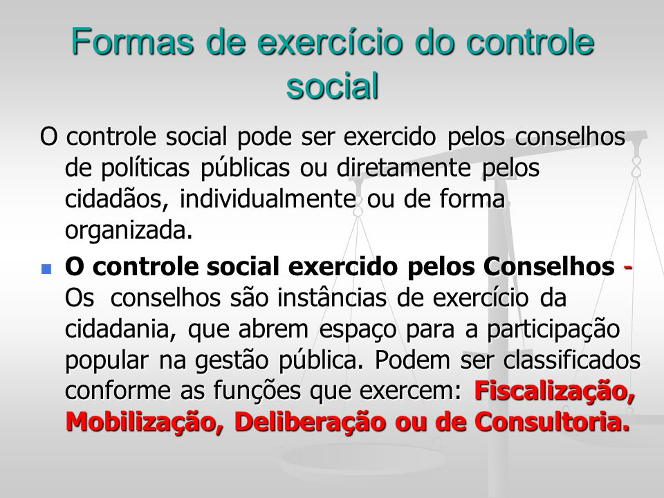 Formas de exercício do controle social