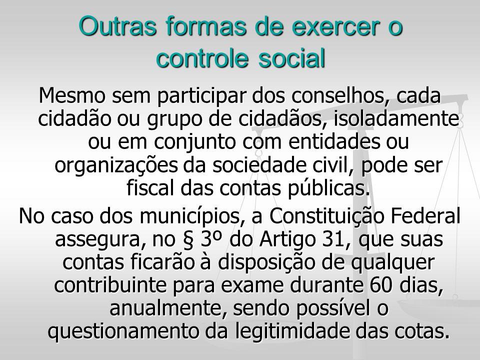 Outras formas de exercer o controle social