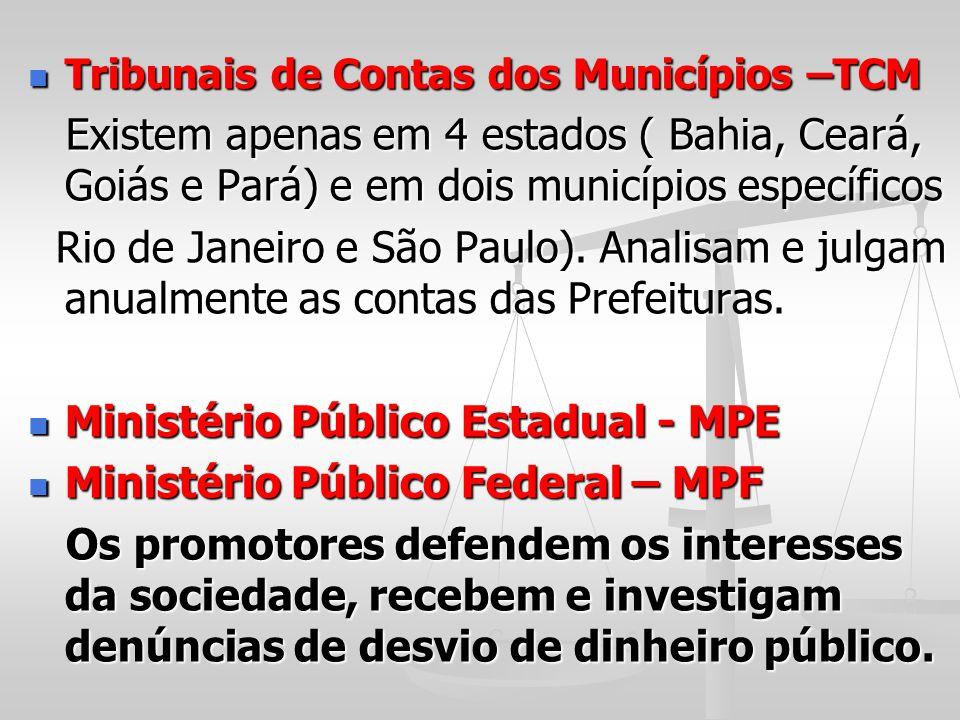 Ministério Público Estadual - MPE Ministério Público Federal – MPF