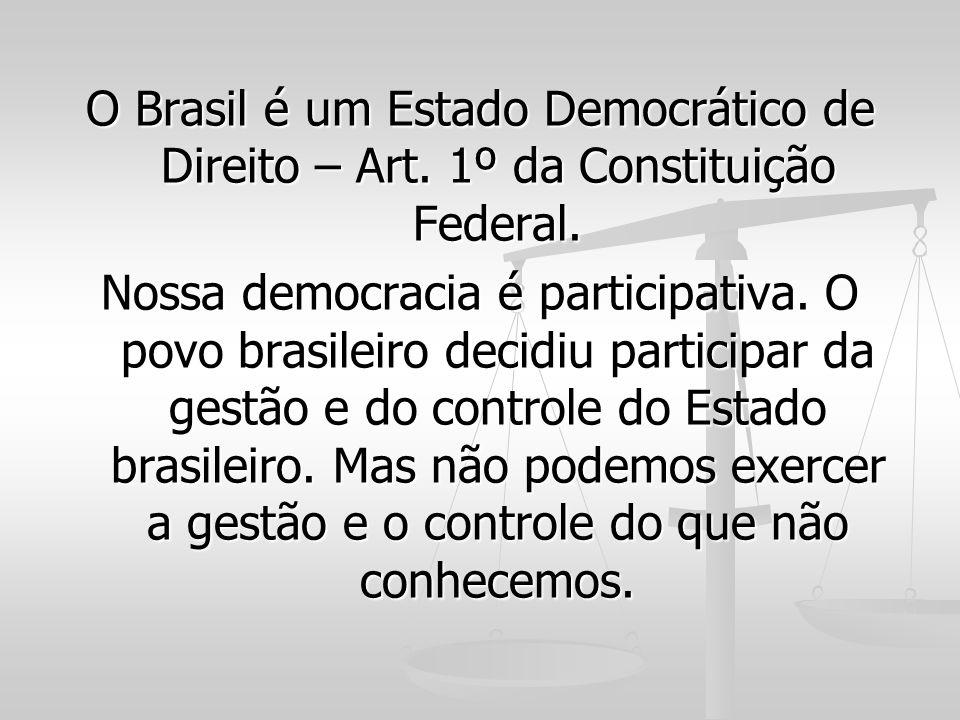 O Brasil é um Estado Democrático de Direito – Art