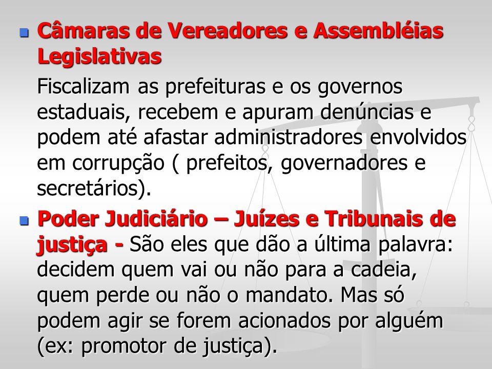 Câmaras de Vereadores e Assembléias Legislativas