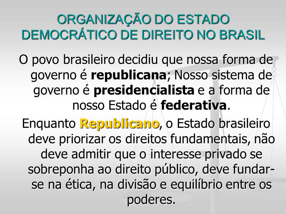 ORGANIZAÇÃO DO ESTADO DEMOCRÁTICO DE DIREITO NO BRASIL