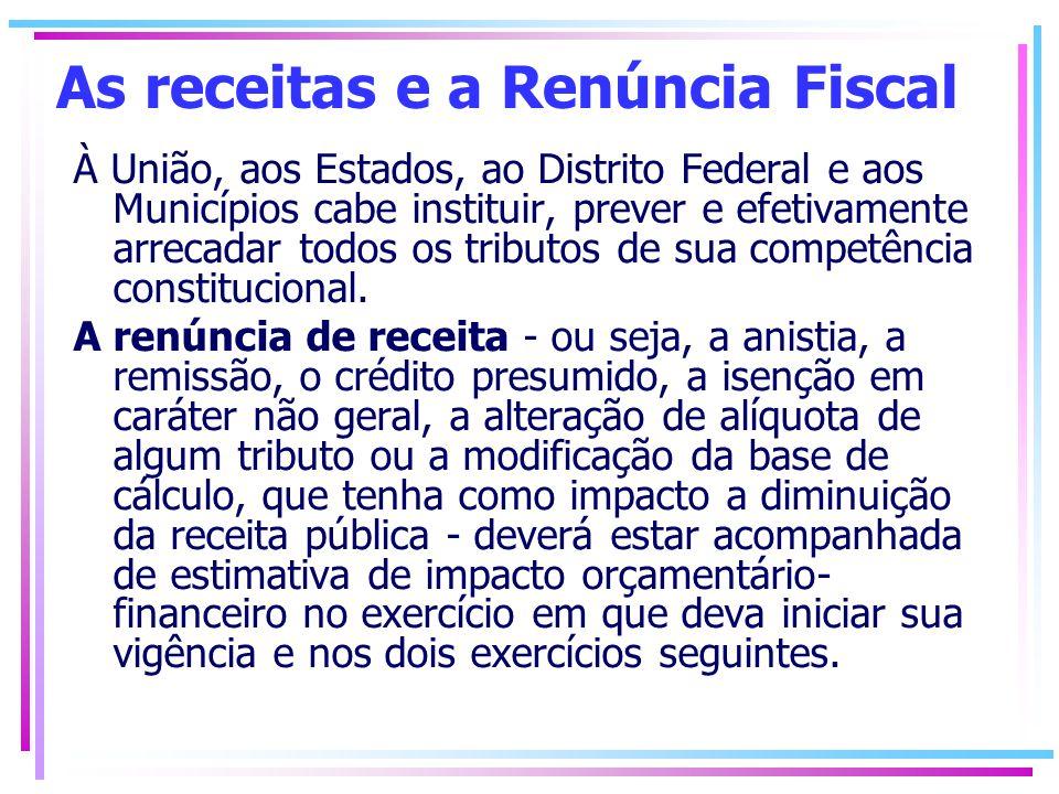 As receitas e a Renúncia Fiscal