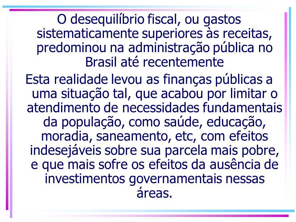 O desequilíbrio fiscal, ou gastos sistematicamente superiores às receitas, predominou na administração pública no Brasil até recentemente