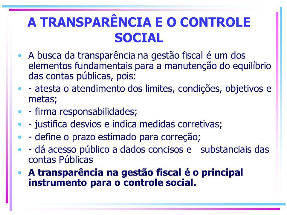 A TRANSPARÊNCIA E O CONTROLE SOCIAL