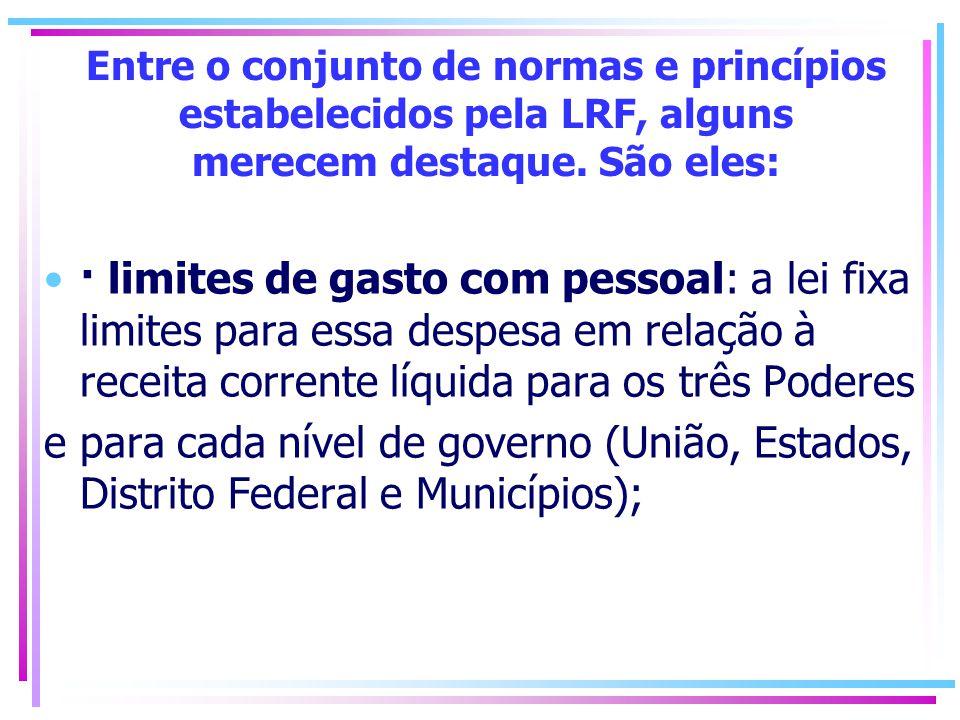 Entre o conjunto de normas e princípios estabelecidos pela LRF, alguns merecem destaque. São eles: