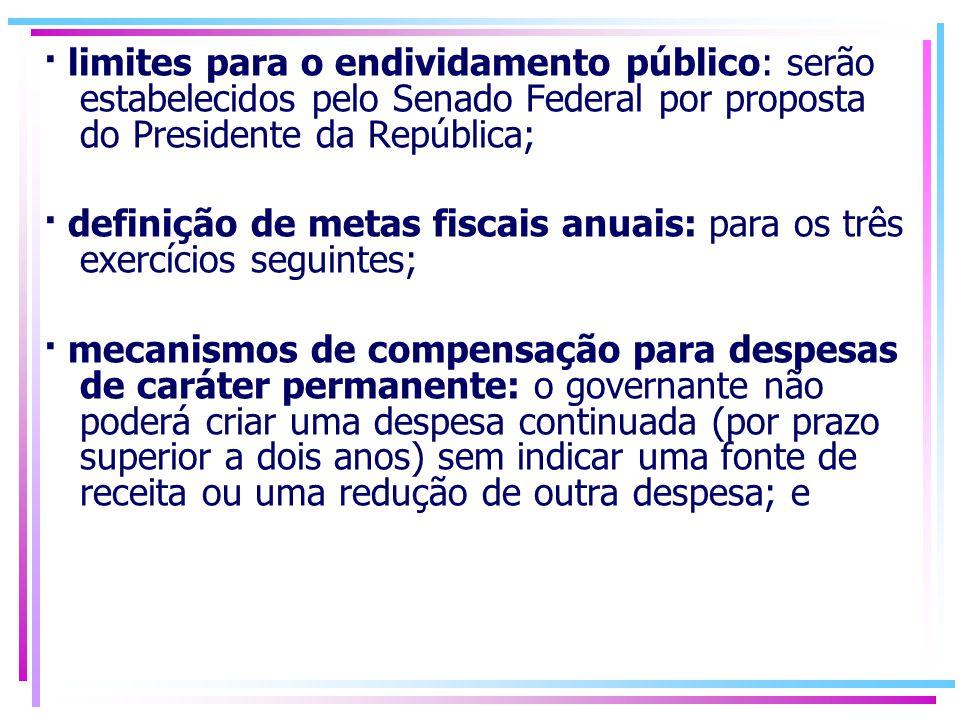 · limites para o endividamento público: serão estabelecidos pelo Senado Federal por proposta do Presidente da República;