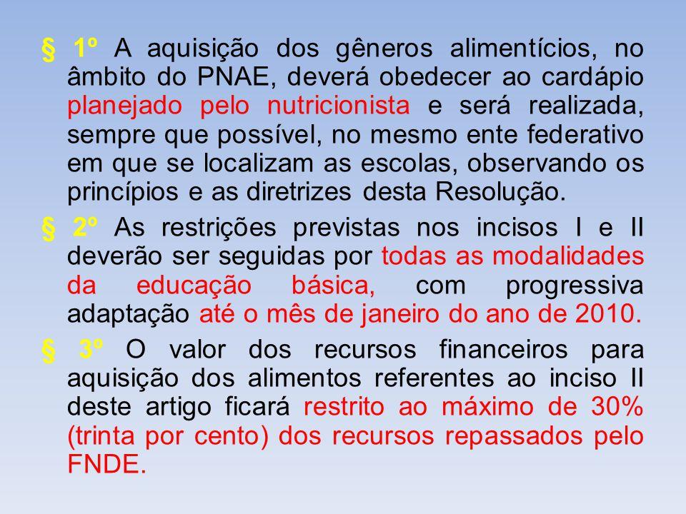§ 1º A aquisição dos gêneros alimentícios, no âmbito do PNAE, deverá obedecer ao cardápio planejado pelo nutricionista e será realizada, sempre que possível, no mesmo ente federativo em que se localizam as escolas, observando os princípios e as diretrizes desta Resolução.
