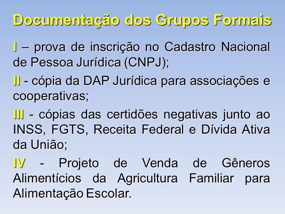 Documentação dos Grupos Formais