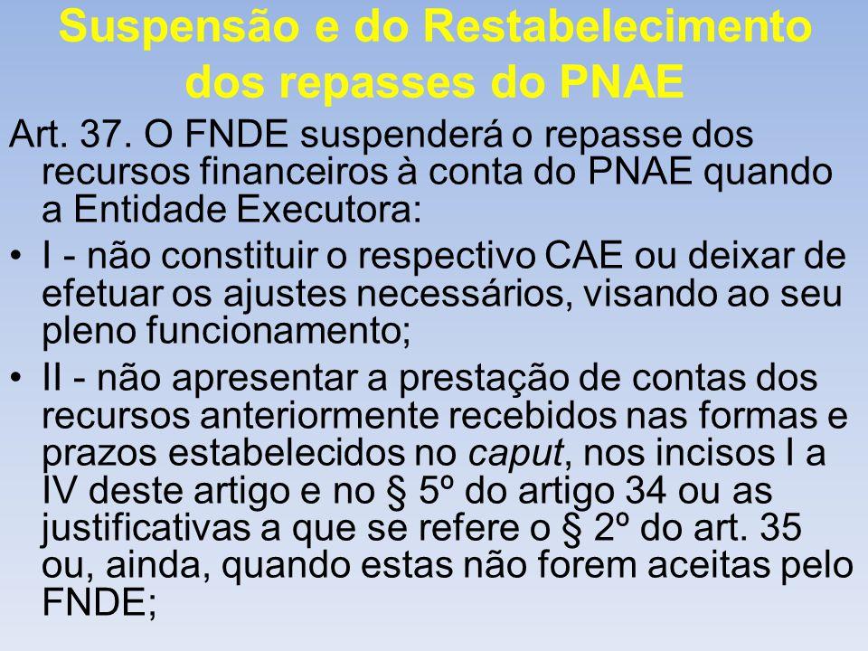 Suspensão e do Restabelecimento dos repasses do PNAE