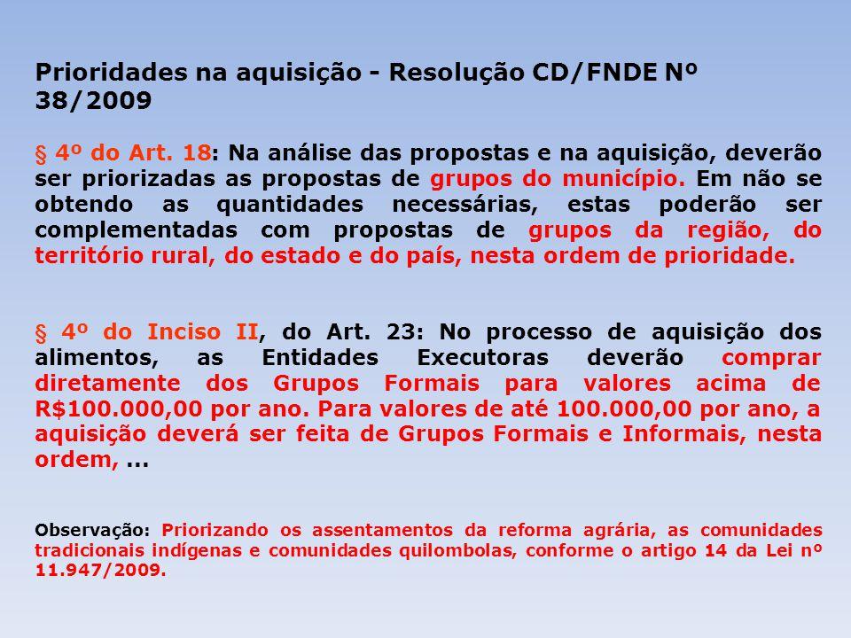 Prioridades na aquisição - Resolução CD/FNDE Nº 38/2009