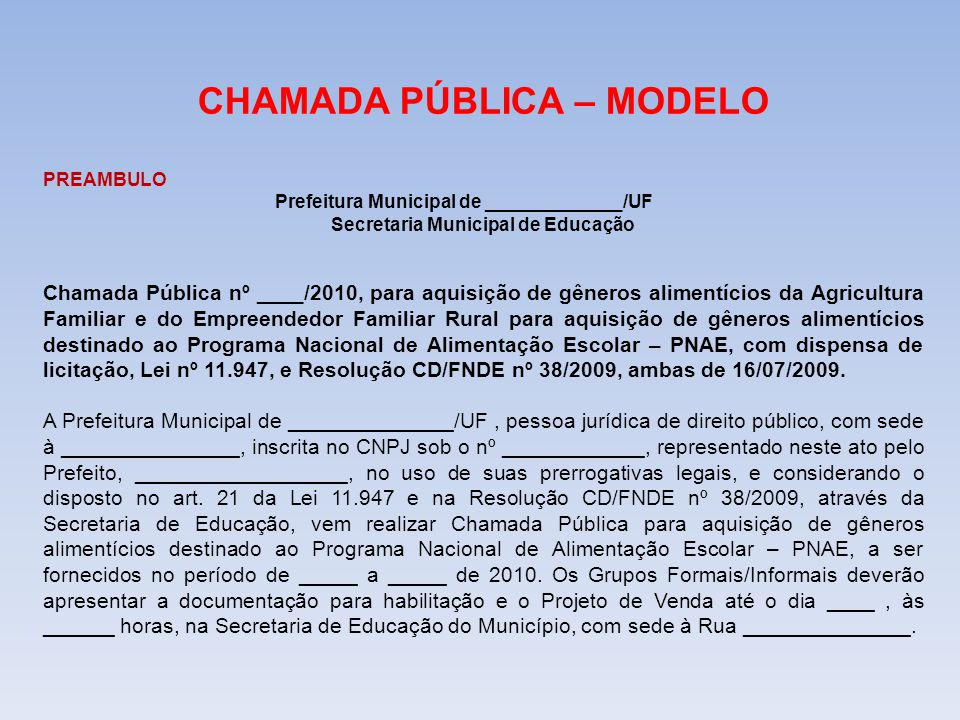 CHAMADA PÚBLICA – MODELO Secretaria Municipal de Educação