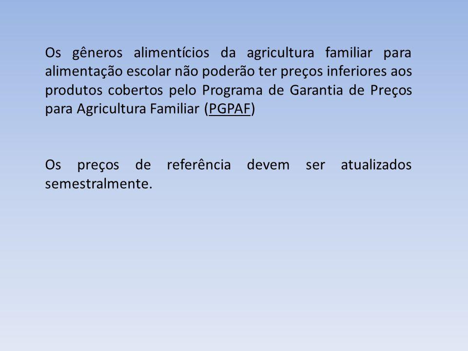 Os gêneros alimentícios da agricultura familiar para alimentação escolar não poderão ter preços inferiores aos produtos cobertos pelo Programa de Garantia de Preços para Agricultura Familiar (PGPAF)