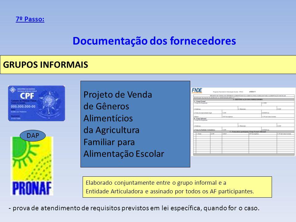 Documentação dos fornecedores