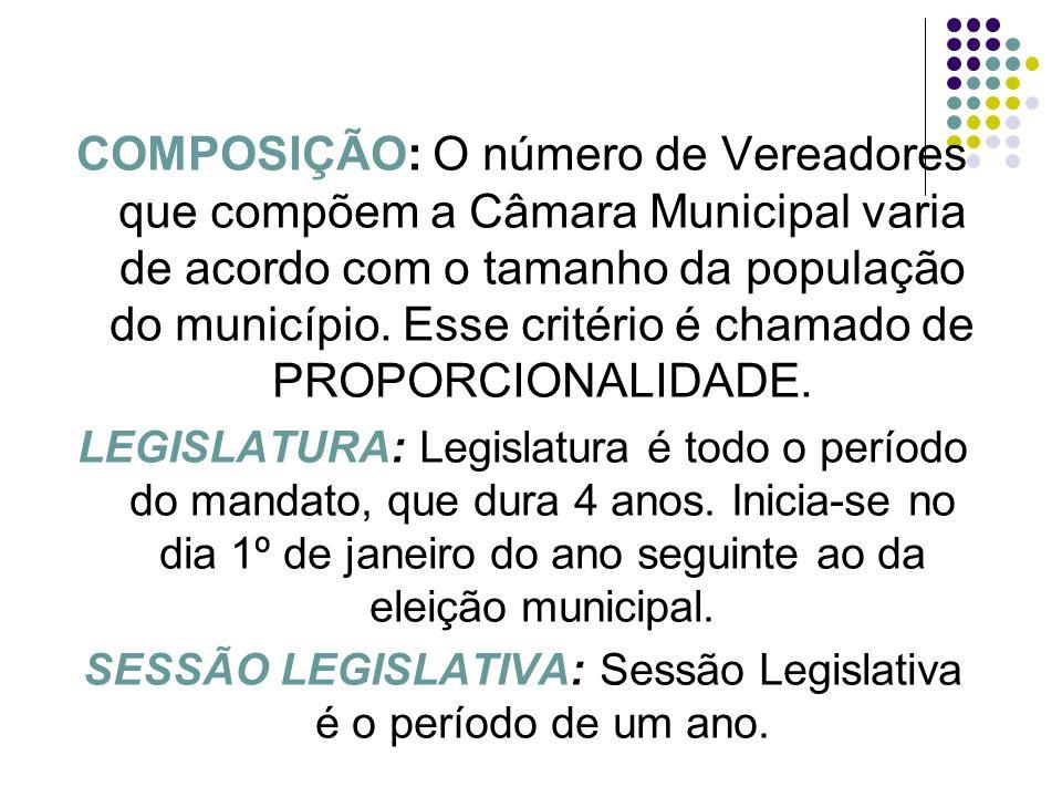 SESSÃO LEGISLATIVA: Sessão Legislativa é o período de um ano.