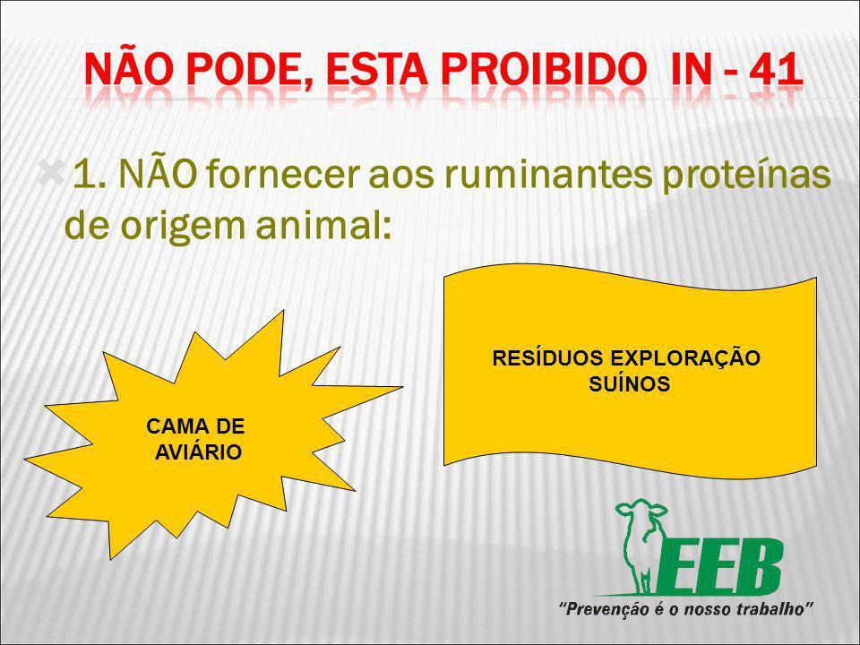 1. NÃO fornecer aos ruminantes proteínas de origem animal: