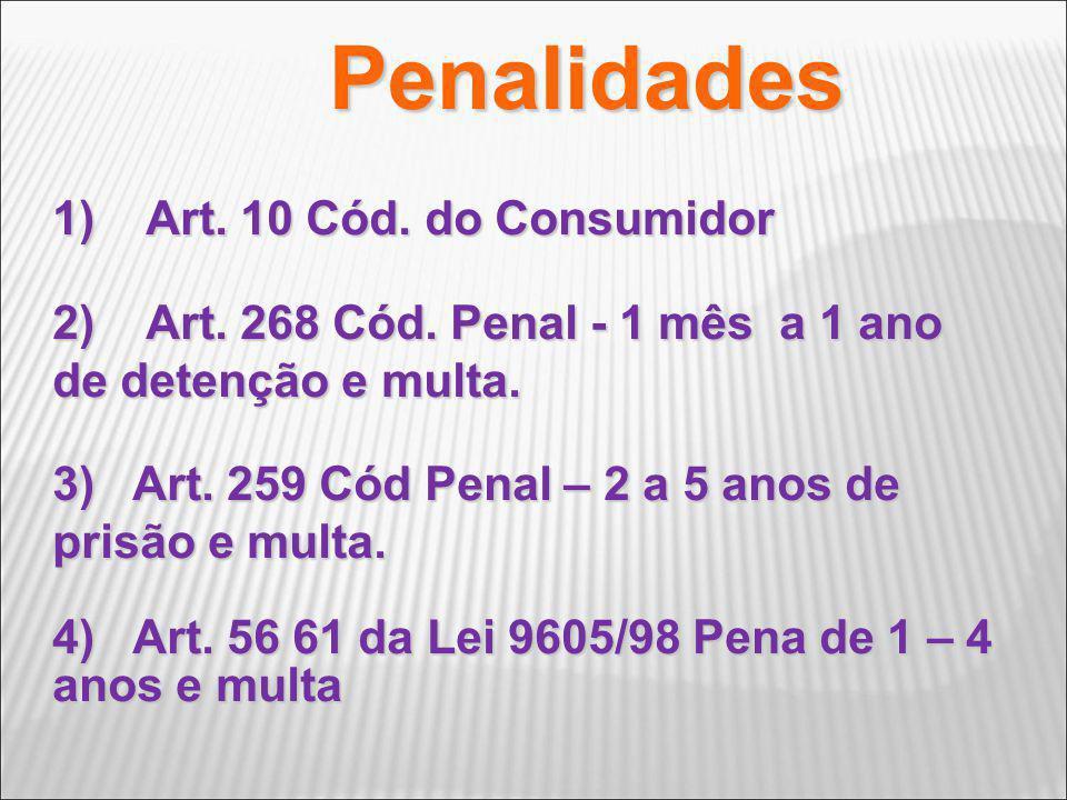 Penalidades 1) Art. 10 Cód. do Consumidor