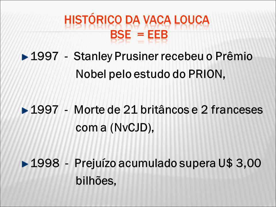 1997 - Stanley Prusiner recebeu o Prêmio Nobel pelo estudo do PRION,