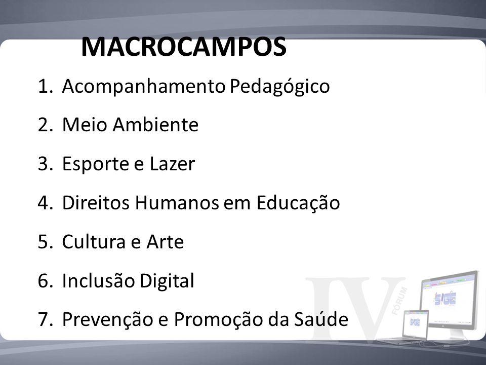 MACROCAMPOS Acompanhamento Pedagógico Meio Ambiente Esporte e Lazer