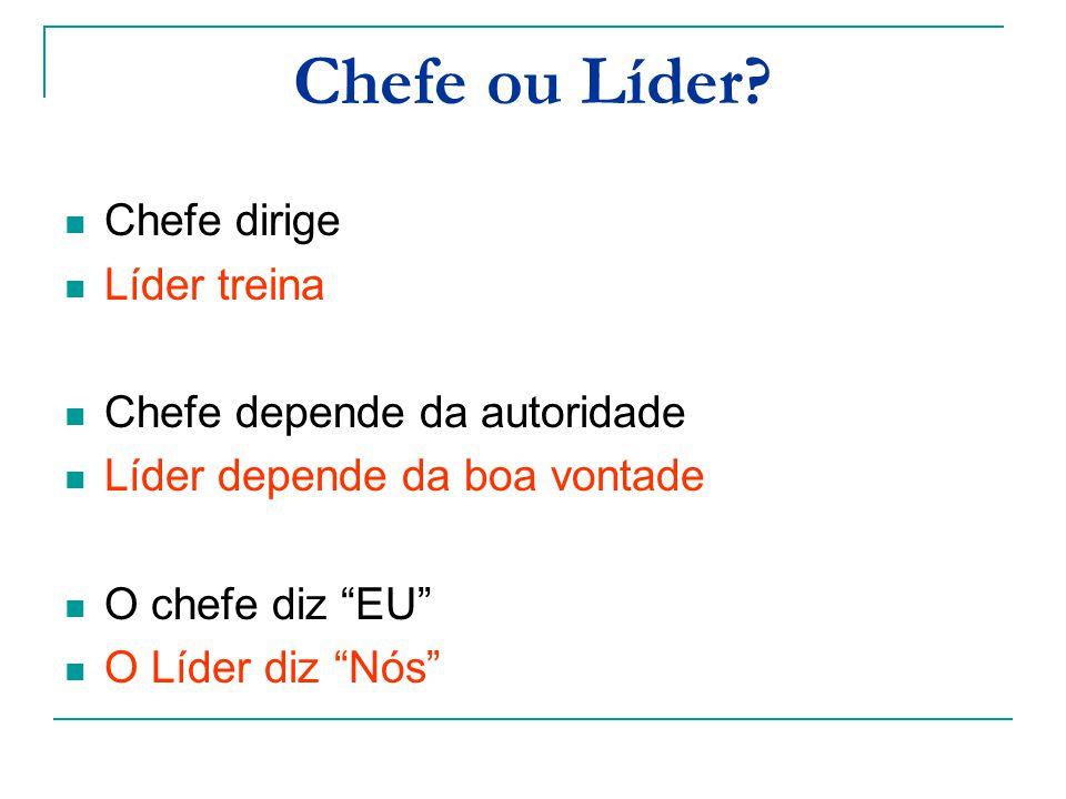 Chefe ou Líder Chefe dirige Líder treina Chefe depende da autoridade