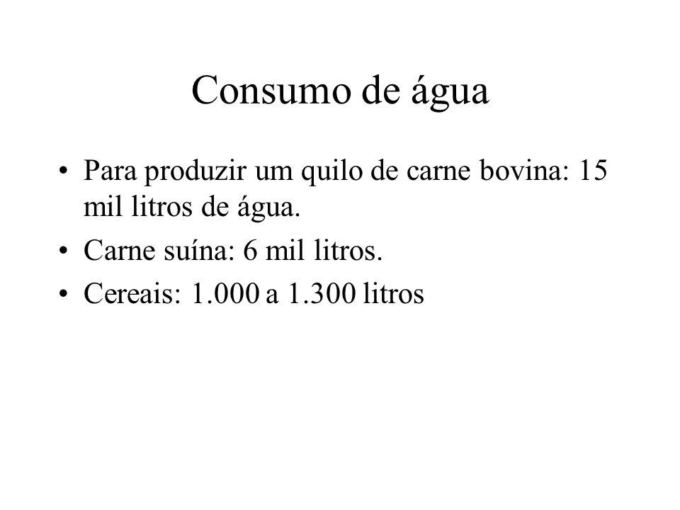 Consumo de água Para produzir um quilo de carne bovina: 15 mil litros de água. Carne suína: 6 mil litros.