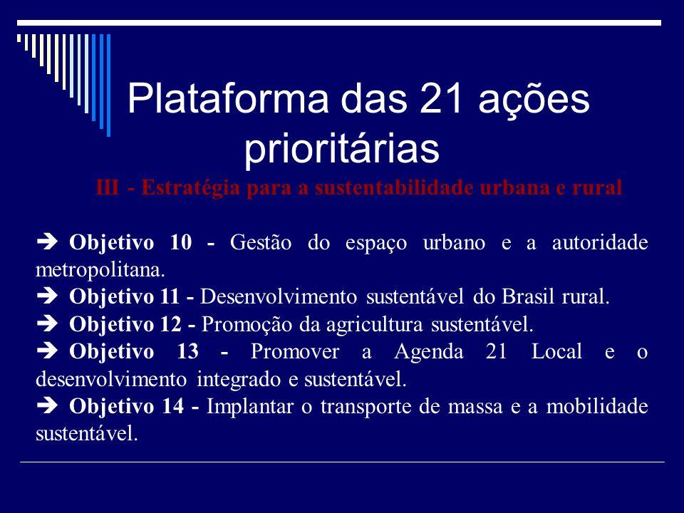 III - Estratégia para a sustentabilidade urbana e rural