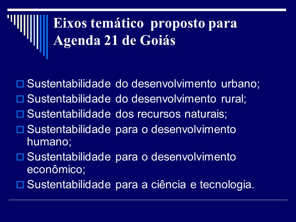 Eixos temático proposto para Agenda 21 de Goiás