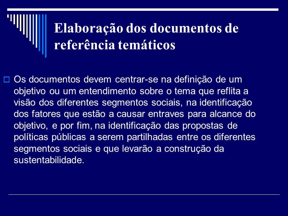 Elaboração dos documentos de referência temáticos
