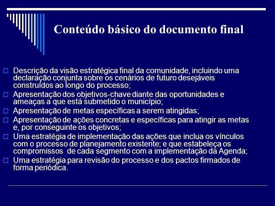 Conteúdo básico do documento final