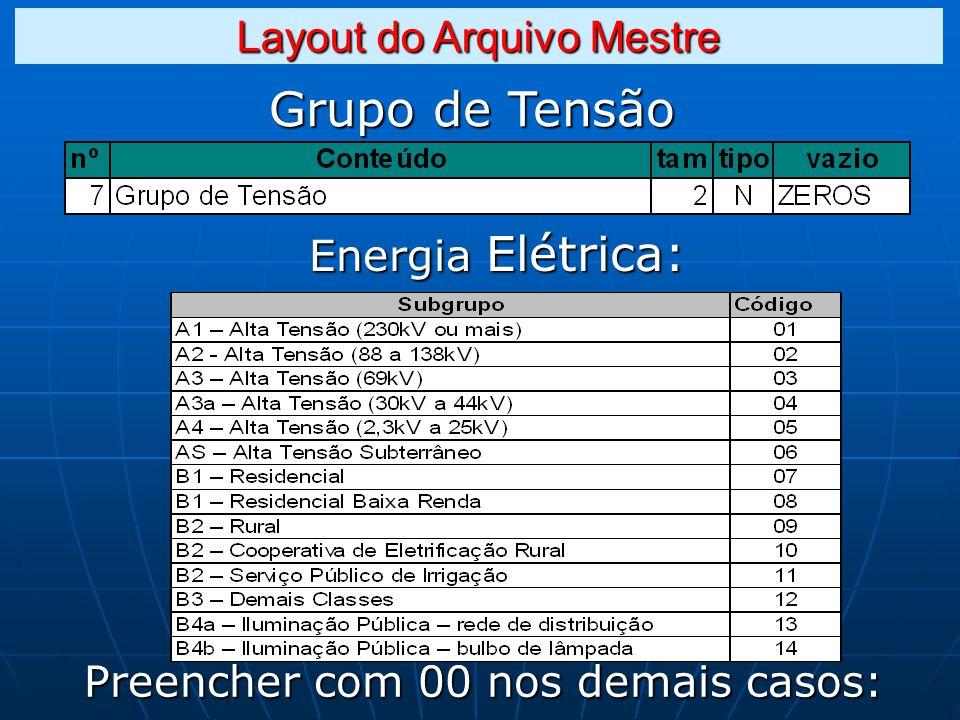 Grupo de Tensão Layout do Arquivo Mestre Energia Elétrica: